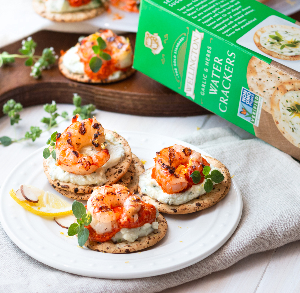 Romesco Grilled Shrimp with Whipped Herb Ricotta