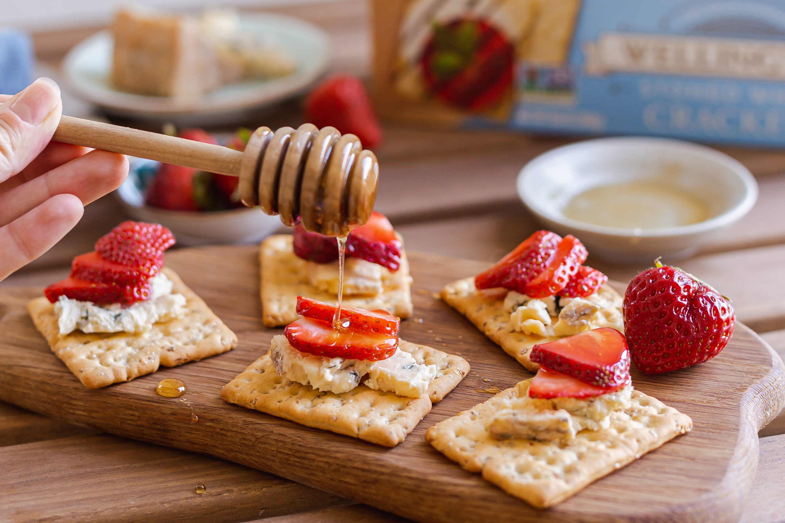 Strawberry and Blue Cheese Crackers